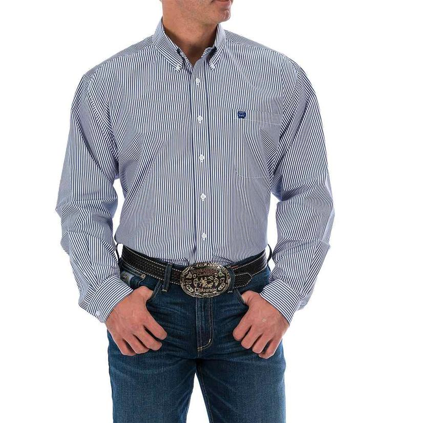 Cinch Mens Royal Tencil Stripe Long Sleeve Western Shirt