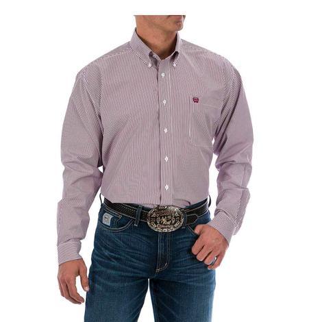 Cinch Mens Burgundy Tencel Stripe Long Sleeve Button Down Shirt