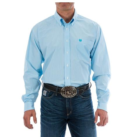 Cinch Mens Light Blue Tencil Stripe Long Sleeve Button Down Shirt