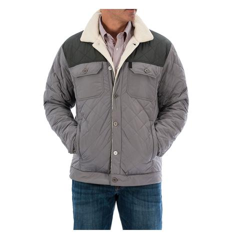 Cinch Mens Grey Quilted Color Block Sherpa Lined Button Front Jacket
