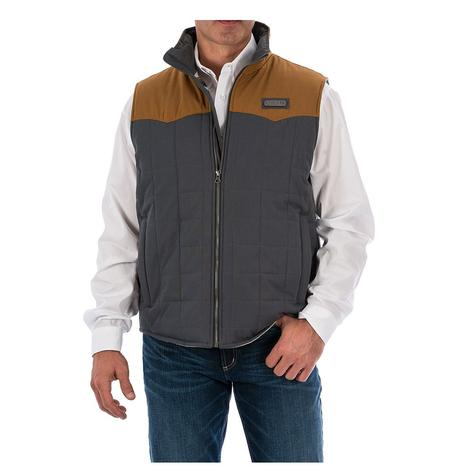 Cinch Mens Waxed Canvas Grey Block Quilted Vest