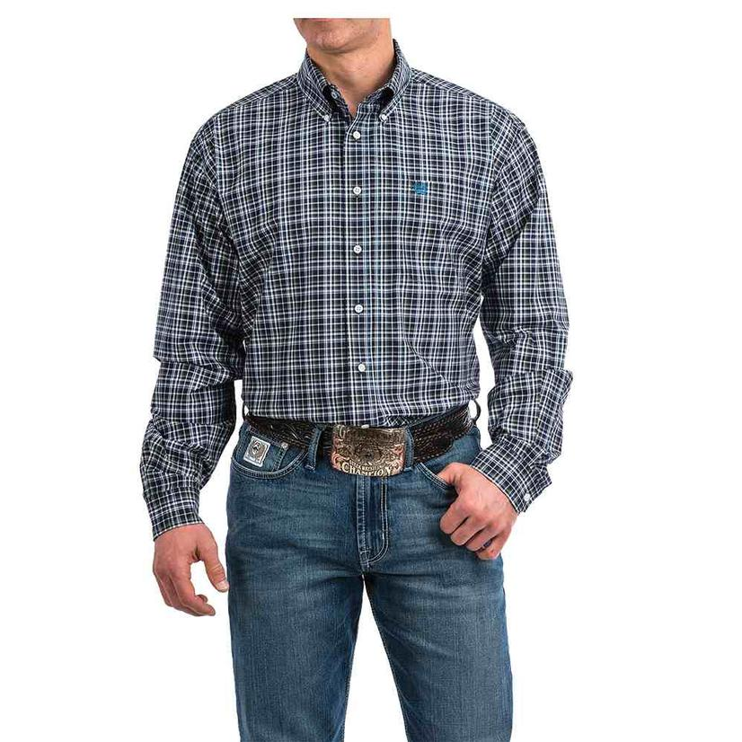 Cinch Navy White Plaid Long Sleeve Button Down Men's Shirt