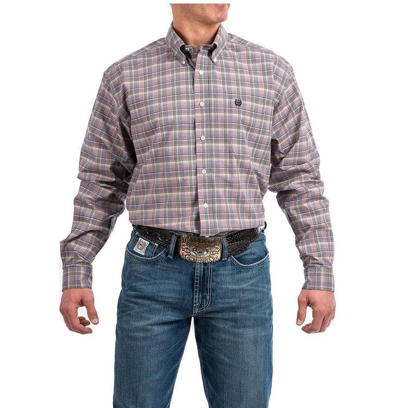 Cinch Purple Black Green Plaid Long Sleeve Men's Button Down Shirt