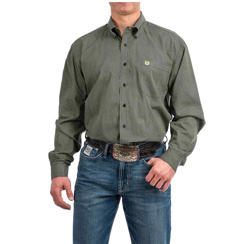 Cinch Black Green Diamond Print Long Sleeve Button Down Men's Shirt