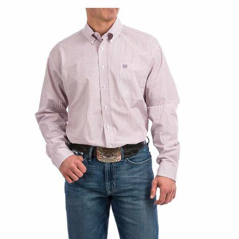 Cinch Purple White Print Long Sleeve Button Down Men's Shirt