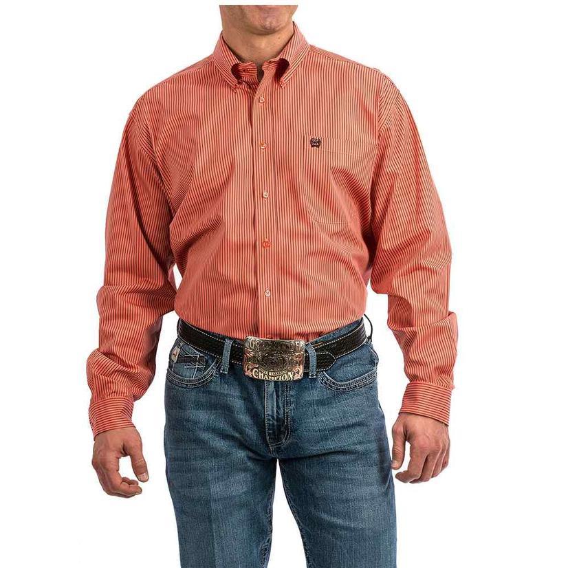 Cinch Coral Pin Stripe Longs Sleeve Button Down Men's Shirt