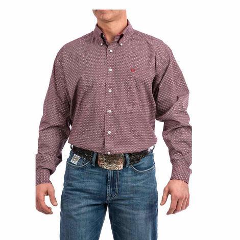 Cinch Dark Red Print Longs Sleeve Button Down Men's Shirt