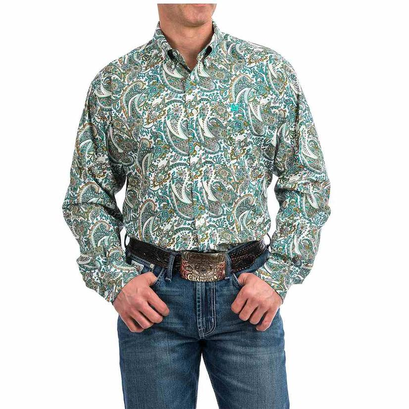 Cinch Turquoise Paisley Print Long Sleeve Button Down Men's Shirt