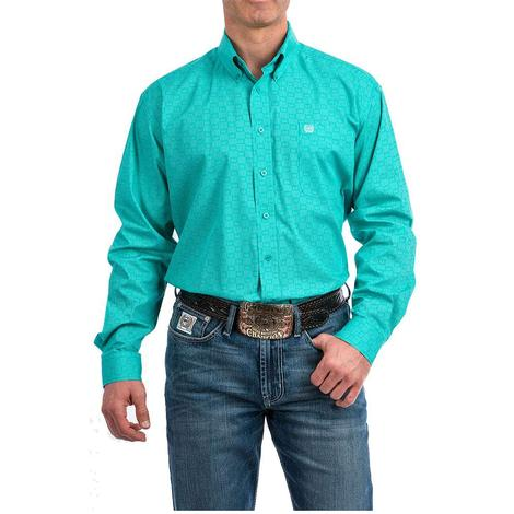 Cinch Turquoise White Print Long Sleeve Button Down Men's Shirt