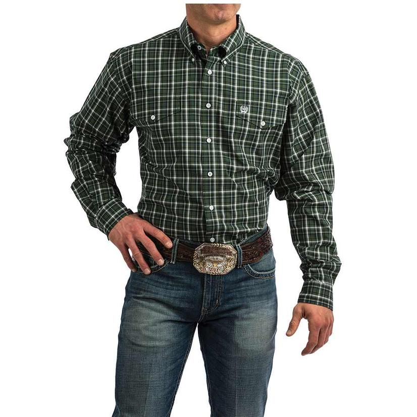 Cinch Green White Plaid Long Sleeve Button Down Men's Shirt