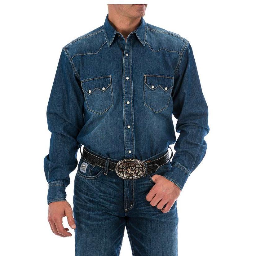 Cinch Mens Denim Snap Long Sleeve Work Shirt