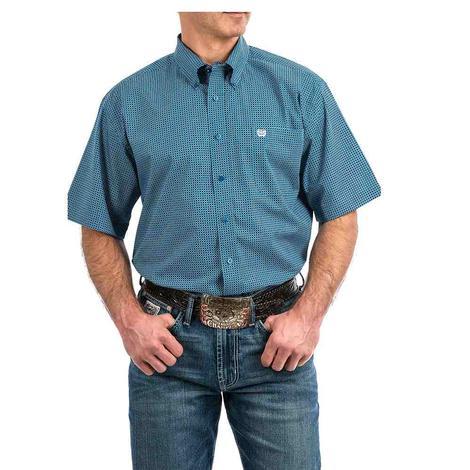 Cinch Blue Print Short Sleeve Button Down Men's Shirt