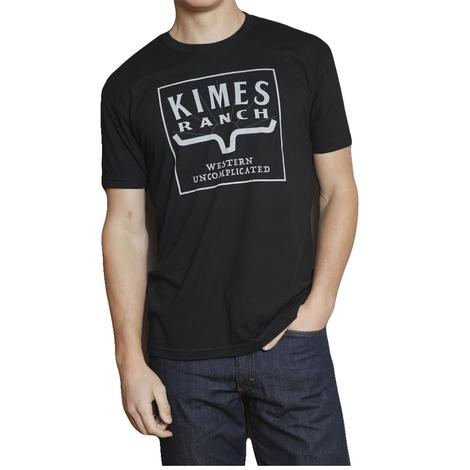 Kimes Ranch Mens Black White Logo Short Sleeve Tee