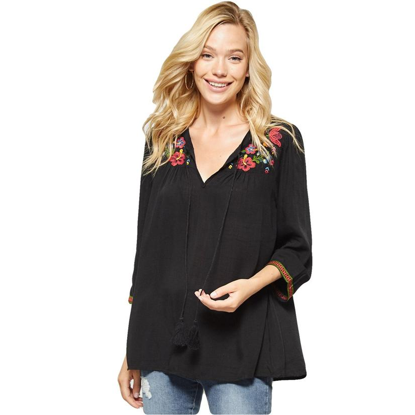 Womens Black Floral Embroidered Tunic With Tie Front