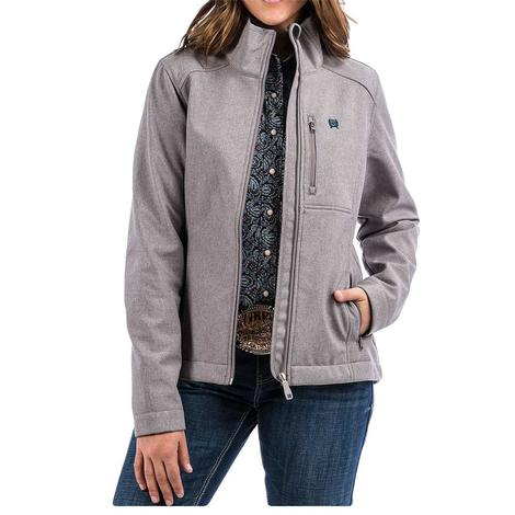 Cinch Womens Grey Turquoise Accent Bonded Zipper Front Jacket