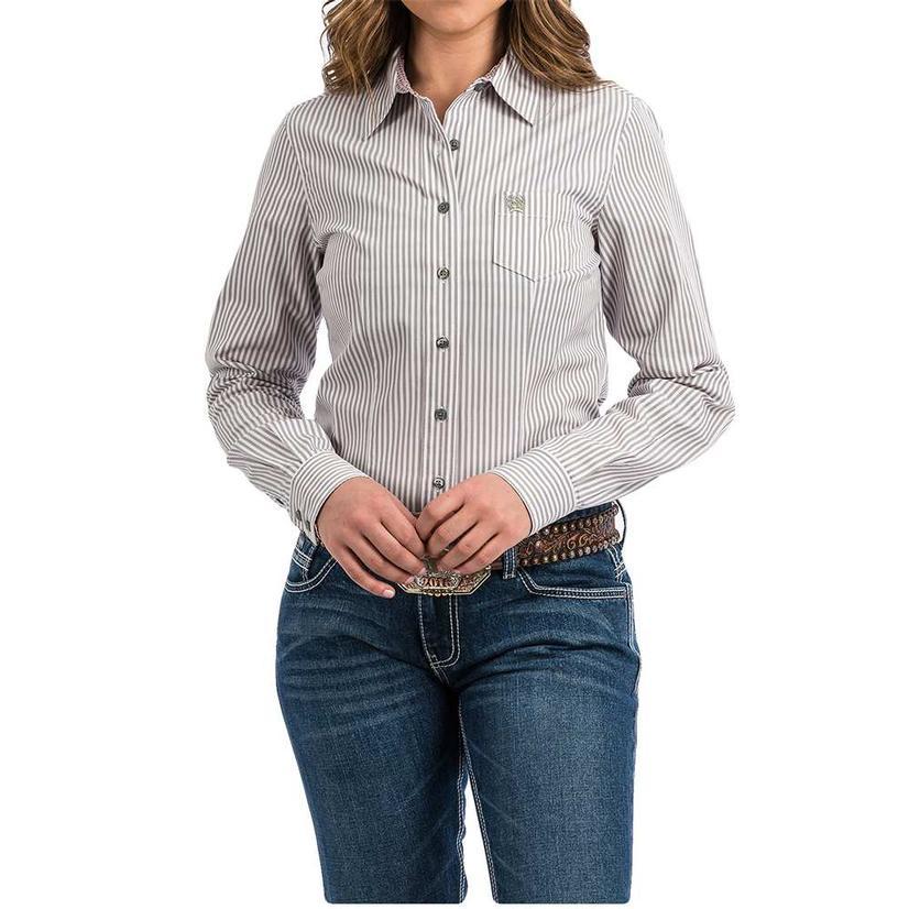 Cinch Slate Grey Green Pin Stripe Long Sleeve Button Down Women's Shirt