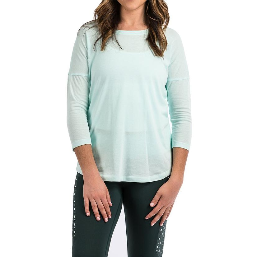 Cinch Mint 3/4 Sleeve Women's Tee With Mesh Back