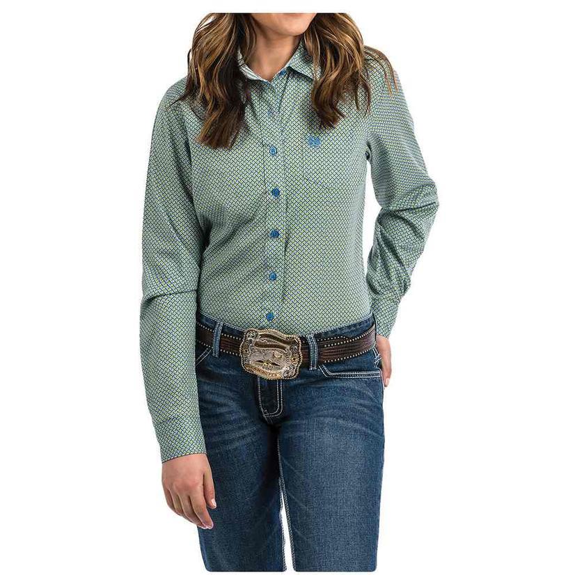 Cinch Slate Grey Lime Green Blue Print Long Sleeve Button Down Women's Shirt