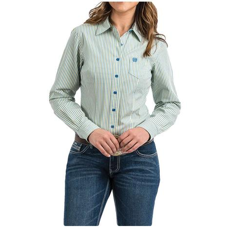 Cinch Blue, Green and White Pin Stripe Long Sleeve Button Down Women's Shirt