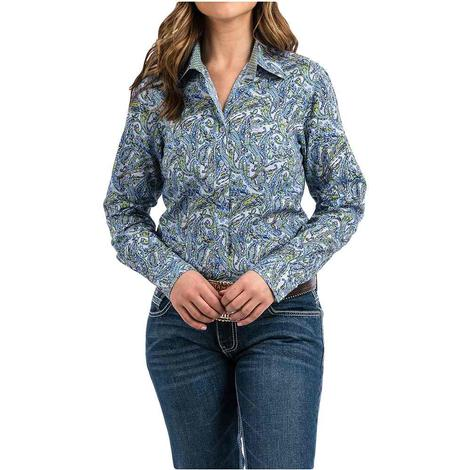 Cinch Blue Green Paisley Print Long Sleeve Button Down Women's Shirt