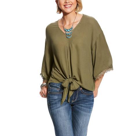 Ariat Mai Tie Bell Sleeve Olive Women's Shirt