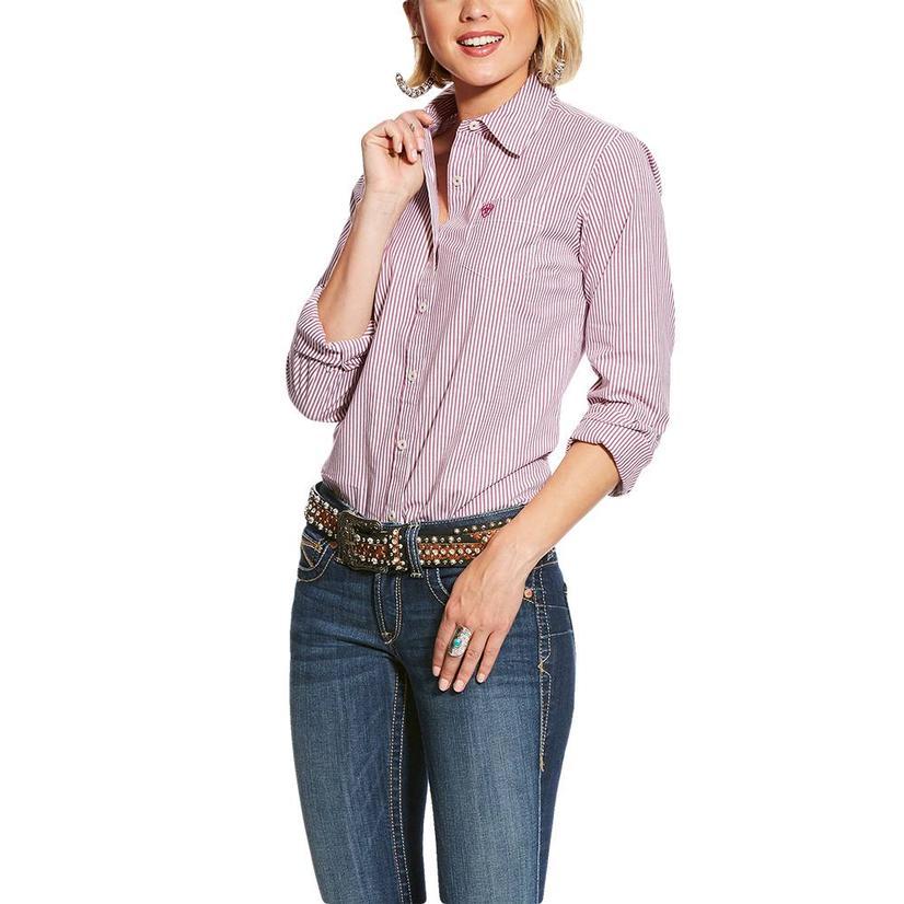 Ariat Kirby Stretch Berry Stripe Long Sleeve Button Down Women's Shirt