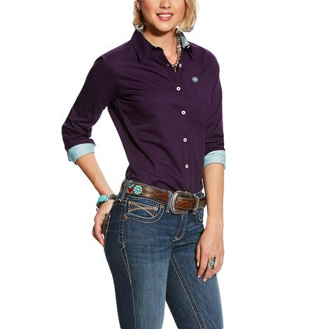 Ariat Kirby Stretch Solid Purple Long Sleeve Women's Shirt