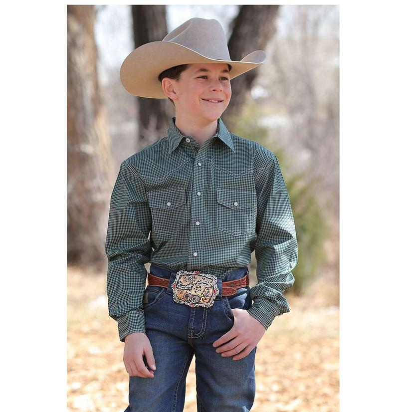 Cinch Green Print Long Sleeve Snap Double Plaid Boy's Shirt
