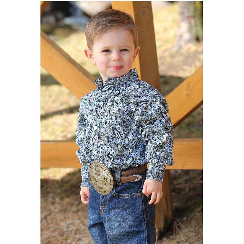 Cinch Olive Navy Paisley Long Sleeve Button Down Toddler Shirt