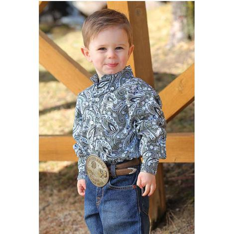 4f0e31756 Cinch Olive Navy Paisley Long Sleeve Button Down Toddler Shirt