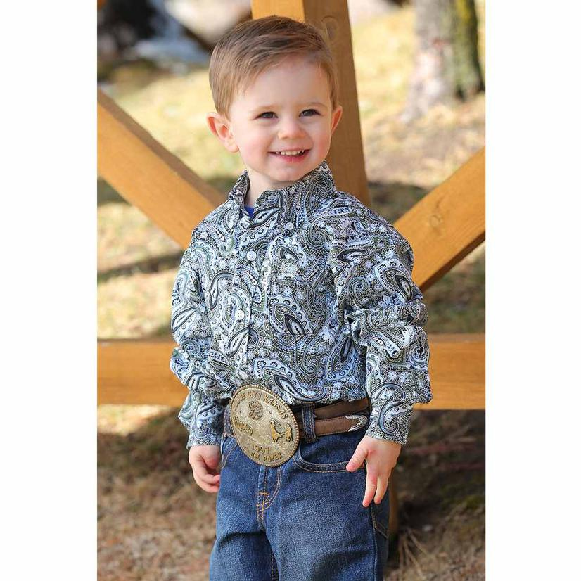 Cinch Olive Navy Paisley Long Sleeve Button Down Shirt - Infant