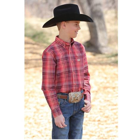 Cinch Coral Red Plaid Long Sleeve Button Down Boy's Shirt