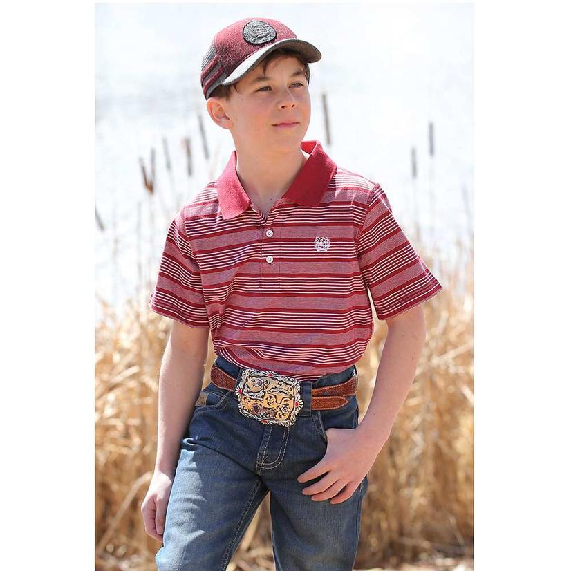Cinch Red White Stripe Polo Boy's Shirt
