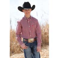 Cinch Red White Plaid Long Sleeve Button Down Boy's Shirt