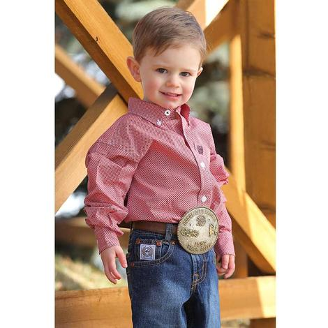 Cinch Dash Print Long Sleeve Button Down Boy's Shirt - Toddler