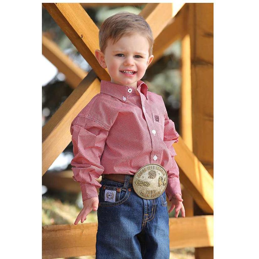 Cinch Dash Print Long Sleeve Button Down Shirt - Infant
