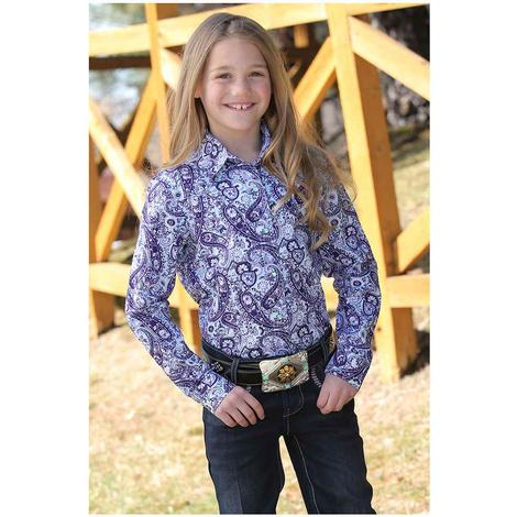 Cruel Girl Purple White Paisley Print Long Sleeve Girl's Snap Shirt