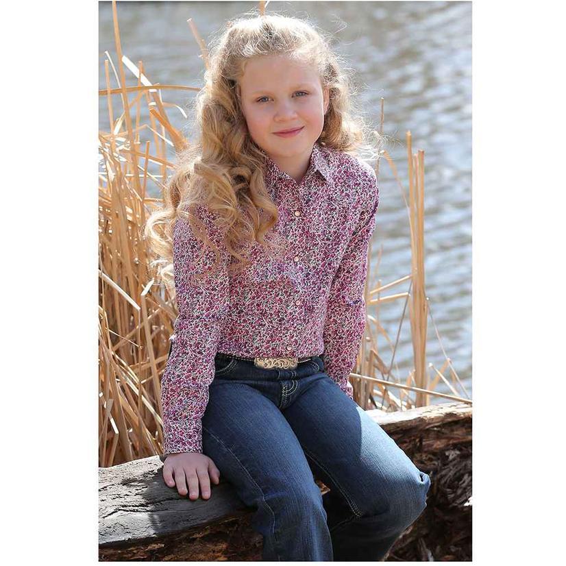 Cruel Girl Pink Print Long Sleeve Girl's Snap Shirt