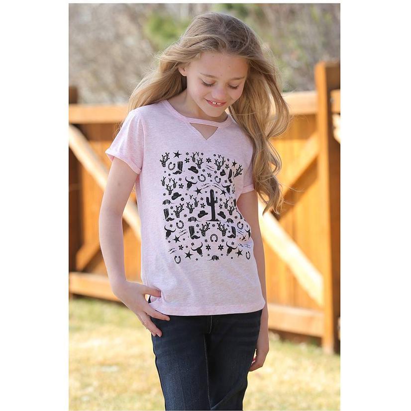 Cruel Girl Pink Black Cactus Print Short Sleeve Girl's Tee