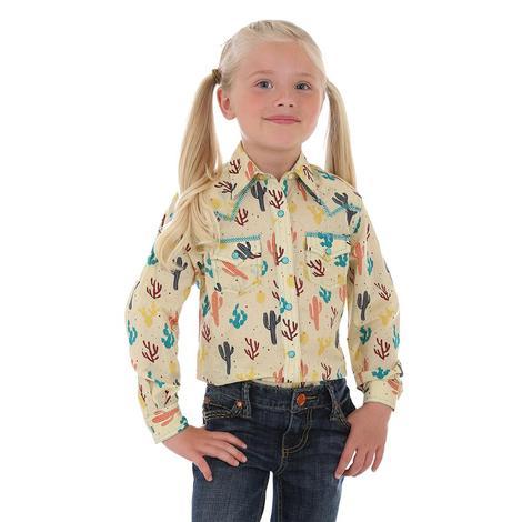 Wrangler Girls Tan Cactus 2 Pocket Snap Shirt