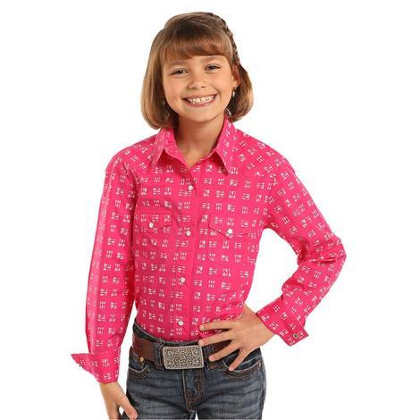 Panhandle Slim Girls Hot Pink Arrow Long Sleeve Snap Shirt