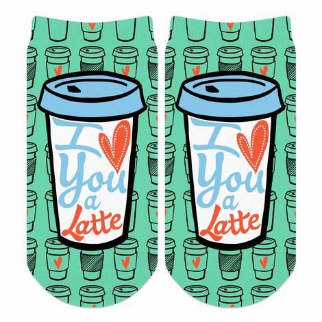 No Show Turquoise I Love You A Latte OSFA Adult Socks