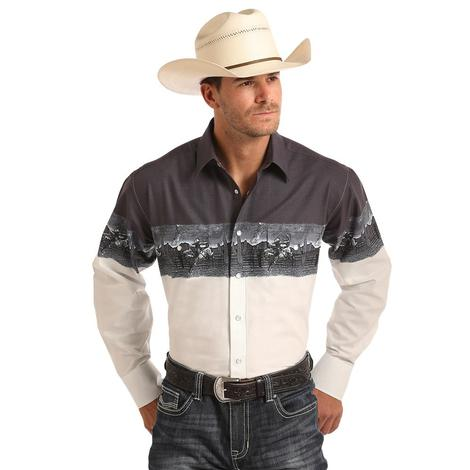Panhandle Slim Mens White Aztec Border Graphic Long Sleeve Shirt