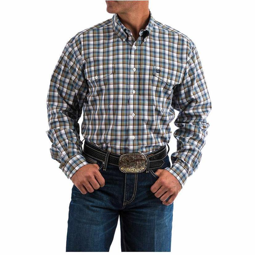 Cinch Mens Brown Blue Plaid Long Sleeve Button Down Shirt