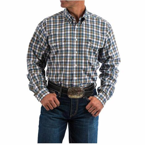 Cinch Mens Brown Blue Plaid Long Sleeve Button Down Shirt