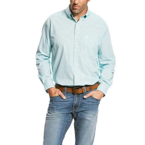 Ariat Mens Vancaster Hockey Pool Mint Long Sleeve Button Down Shirt