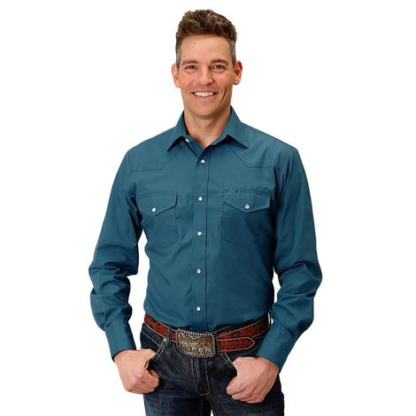 Roper Teal Solid Long Sleeve Double Pocket Men's Snap Shirt