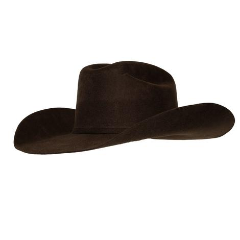 Ariat Chocolate Wool Hat with Self Band and Buckle - Precreased