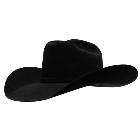 American Hat Company 10X Black Open Crown Felt Cowboy Hat