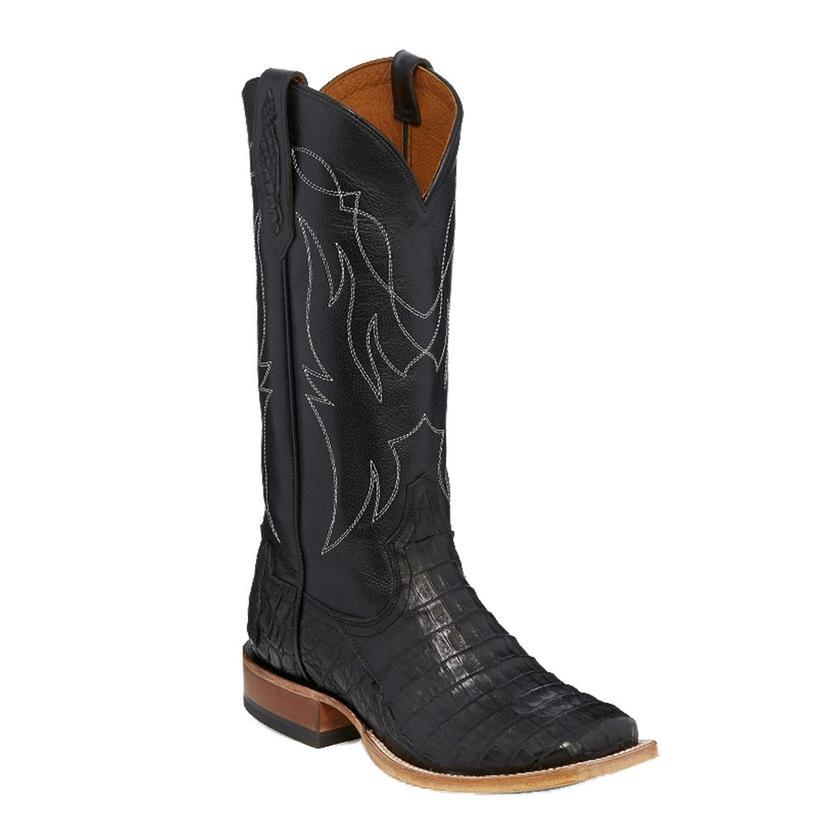 Tony Lama Womens Black Ranch Caiman Belly Boots